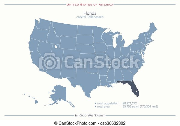 Florida Political Map.Florida United States Of America Isolated Map And Florida State