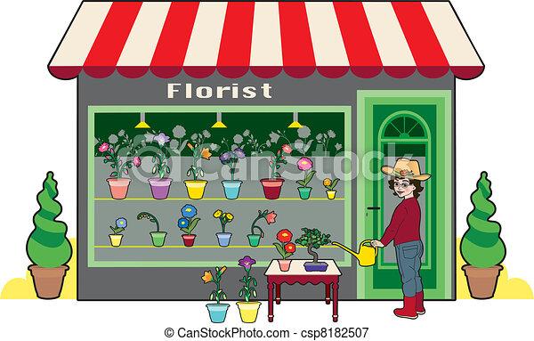 Florist. Small flower shop and florist.