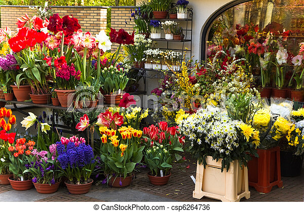 Florist shop with colorful spring flowers - csp6264736