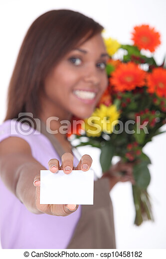 Florist showing business card female - csp10458182