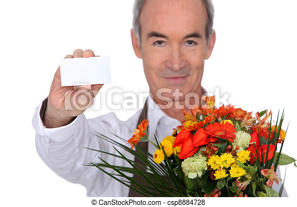 Florist showing business card - csp8884728