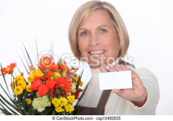 Florist with a blank card - csp10482835