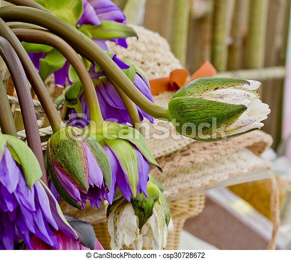 Floristry Pink And Purple Lotus Flowers In Glass Vase