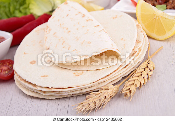 flour tortilla and ingredient - csp12435662