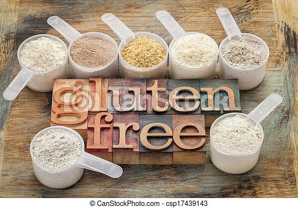 Harinas gratis de gluten y tipografía - csp17439143
