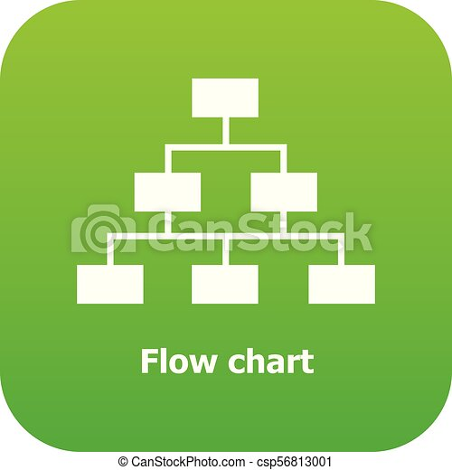 Flow Chart Icon Green Vector Isolated On White Background