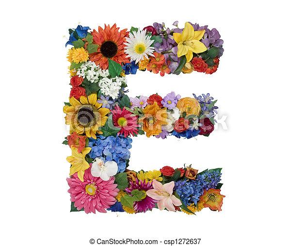 Flower alphabet e letter e made of flowers isolated on white flower alphabet e csp1272637 altavistaventures Images