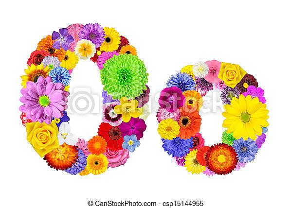 Flower Alphabet Isolated on White - Letter O - csp15144955