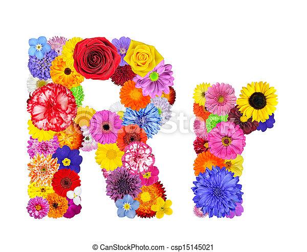 Flower alphabet isolated on white letter r Letter r of stock