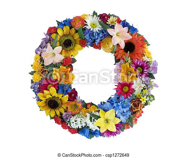 flower alphabet o letter o made of flowers isolated on white