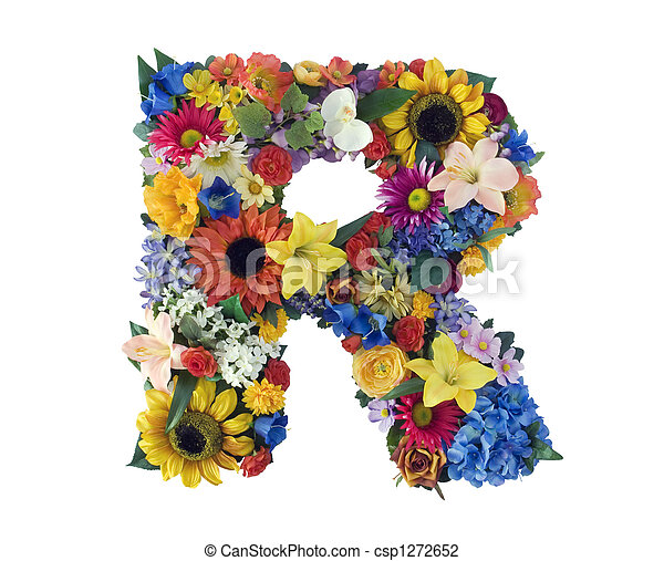 Flower alphabet r letter r made of flowers isolated on white flower alphabet r csp1272652 altavistaventures Choice Image