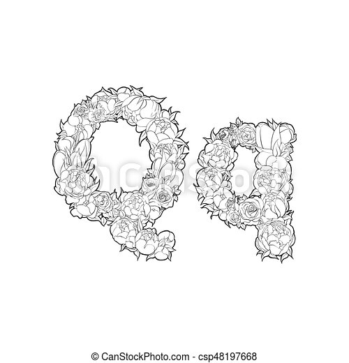 Flower Alphabet The Letter Q Black And White Alphabet With Flowers
