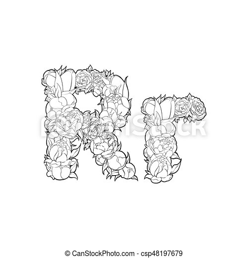 Flower Alphabet The Letter R Black And White Alphabet With Flowers