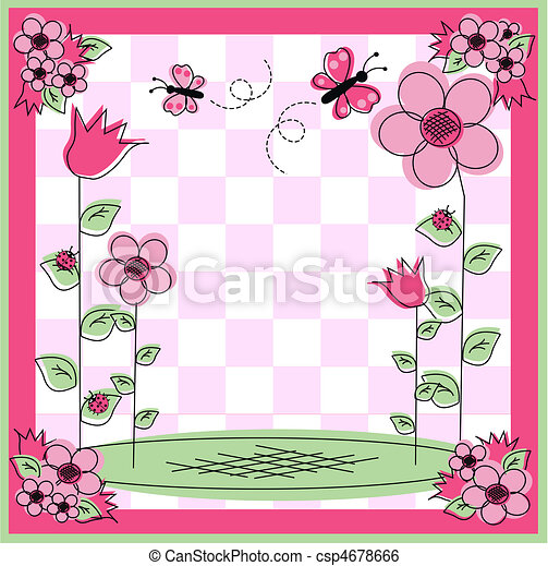 Illustration of a flower and butterfly frame.
