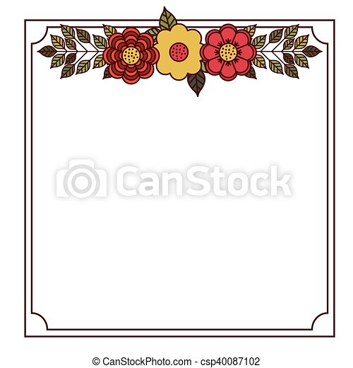 Flower And Leaves Frame Design