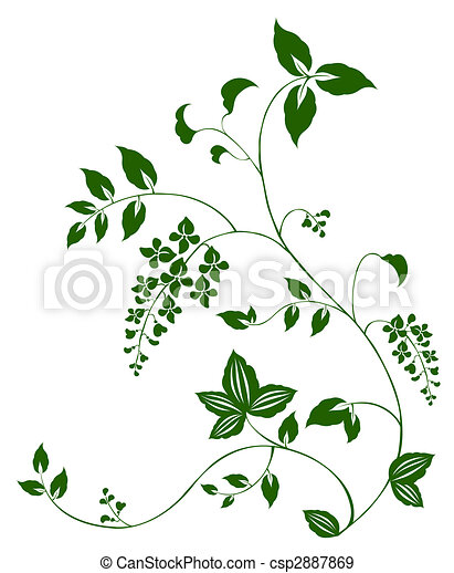 Drawing of green flower and vine pattern in a white ...  Drawing of gree...