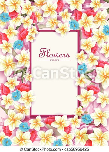 Flower Arrangement For Invitation Card Or Greeting Background Template
