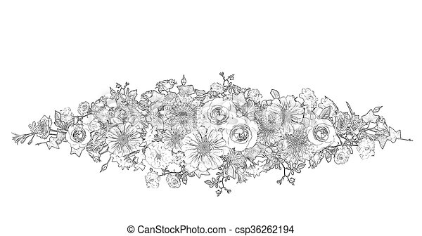 Flower Arrangement Illustration Black And White Computer Stock