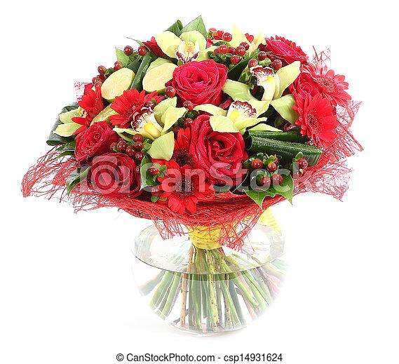 Flower Arrangement In Glass Transparent Vase Red Roses Orchids