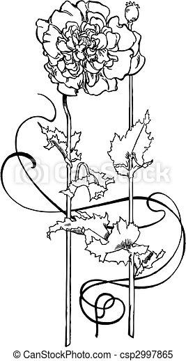 Flower art deco - csp2997865