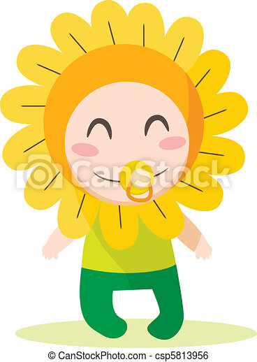 Cute sweet baby boy wearing flower costume  sc 1 st  Can Stock Photo : baby sunflower costume  - Germanpascual.Com