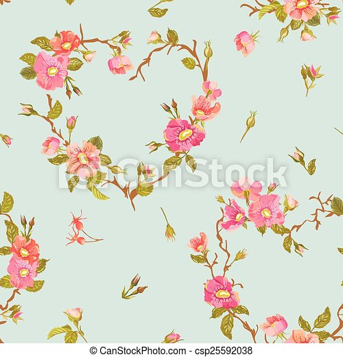 Flower Background - Seamless Floral Shabby Chic Pattern - in vector - csp25592038