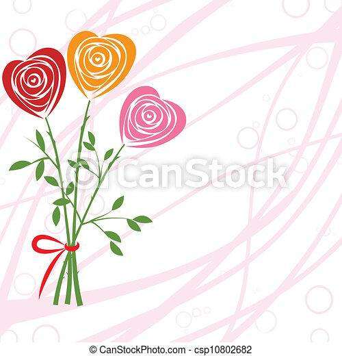 Flower background with rose like heart art vector heart rose vector flower background with rose like heart csp10802682 stopboris Images