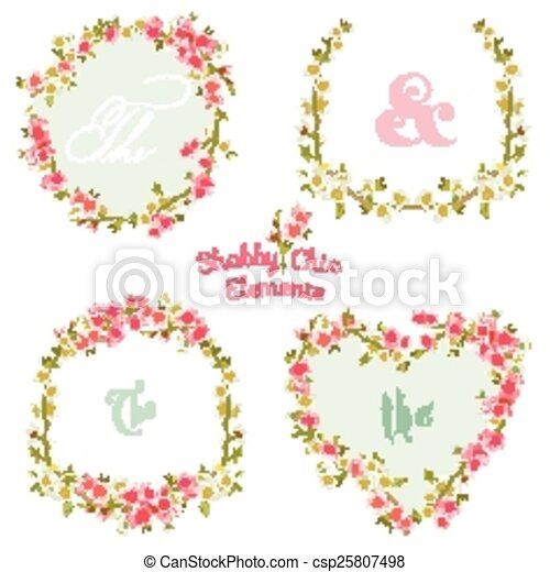 Flower Banners and Tags - for your design and scrapbook - in vector - csp25807498