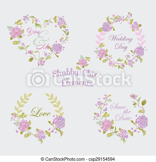Flower Banners and Tags - for your design and scrapbook - in vector - csp29154594