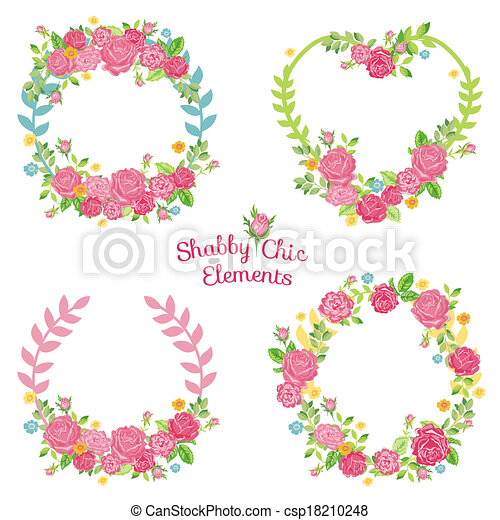 Flower Banners and Tags - for your design and scrapbook - in vector - csp18210248