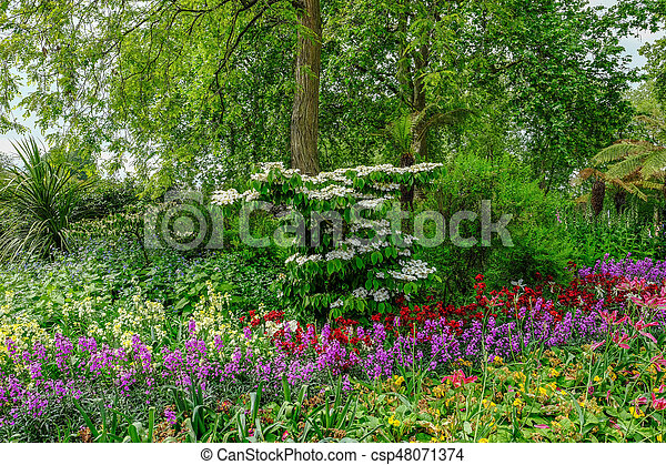 Flower Bed With Beautiful Spring Flower Display Horizontal Shot