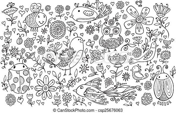 Flower Bird Doodle Vector set - csp25676063