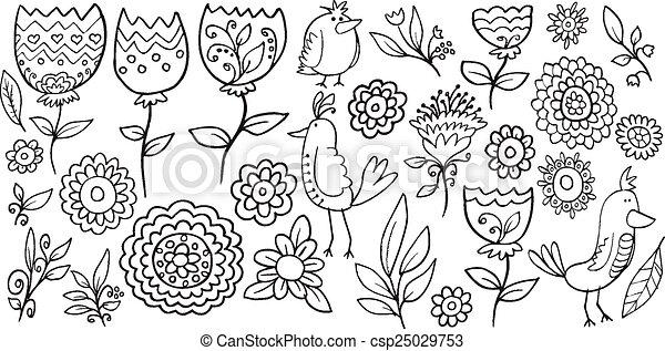 Flower Bird Doodle Vector set - csp25029753