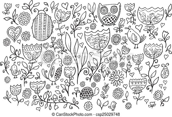 Flower Bird Doodle Vector Set - csp25029748