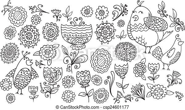 Flower Bird Doodle Vector Set - csp24601177