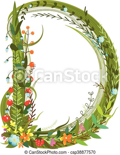 Flower Blossom Decorative Botanical Elegant Alphabet Letter D