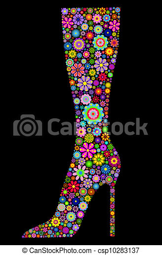 flower boot on black background - csp10283137