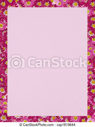 Flower border chrysanthemum border on pink paper flower border csp1819644 mightylinksfo