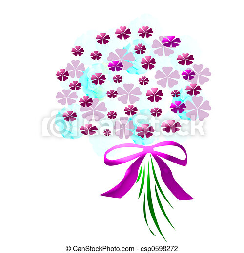 flower bouquet with pink ribbon on white clip art search rh canstockphoto com bouquet of roses clipart bouquet of flowers clipart black and white