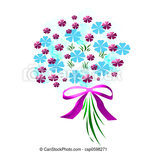 3d flower bouquet with pink ribbon on white clipart search rh canstockphoto com  wildflower bouquet clipart