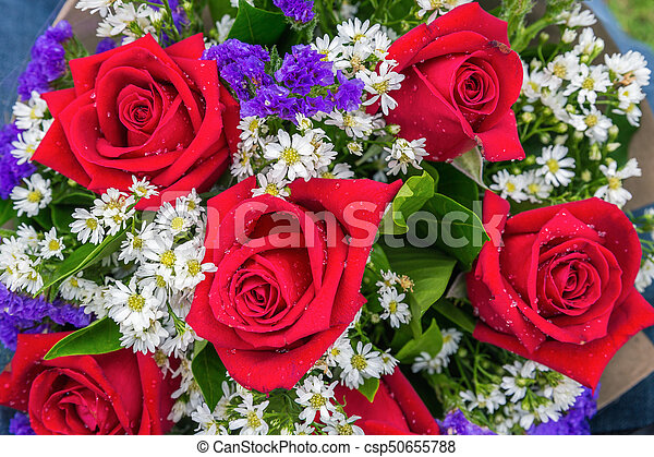 Flower Bouquet Of Red Roses Close Focus On Fresh Flower Bouquet