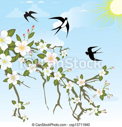 Flower branch with birds. - csp13711940