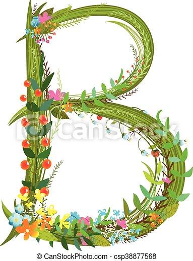 Flower Calligraphy Floral Elegant Decorative Alphabet Letter B