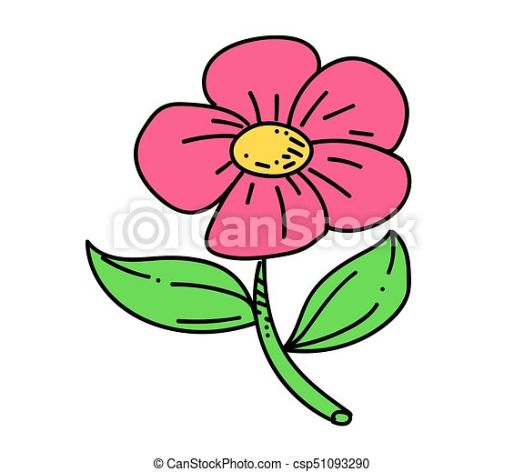Flower cartoon hand drawn image - csp51093290