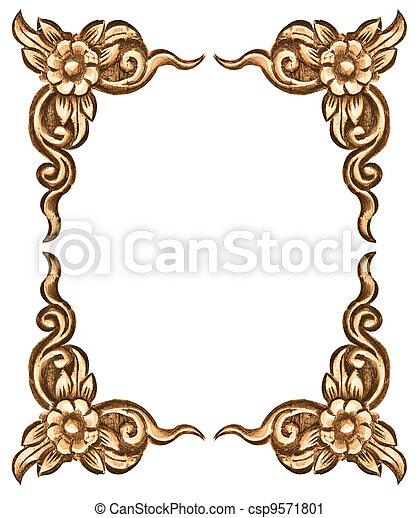 flower carved frame - csp9571801