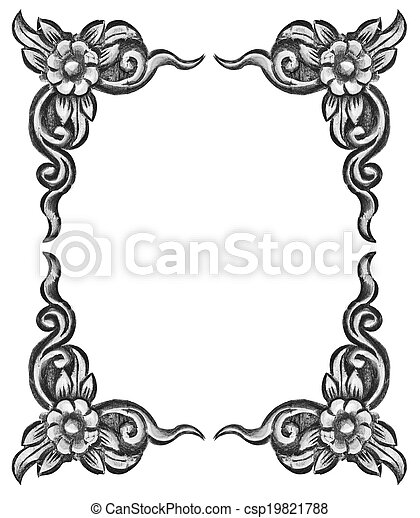 flower carved frame - csp19821788