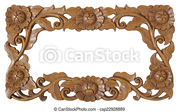 flower carved frame - csp22928889