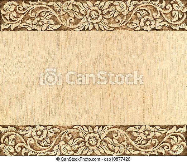 flower carved frame - csp10877426