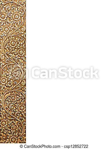 flower carved frame - csp12852722