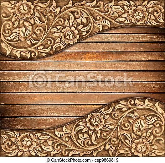 flower carved frame - csp9869819